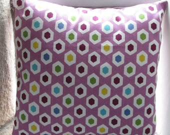 "Purple Hexagon Design Cushion Cover  40cm (16"")"