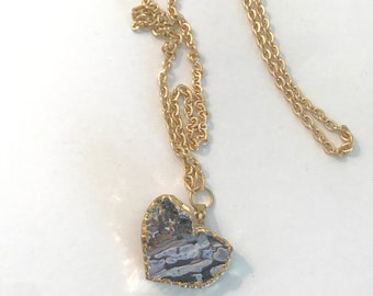 36 Inch Gold Chain Necklace with Druzy Heart Shaped Pendant