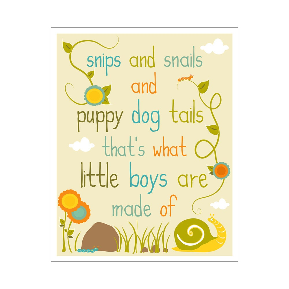 Children\'s Wall Art / Nursery Decor Snips and Snails and