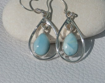Larimar Dangling Earrings Handcrafted In Sterling Silver 925