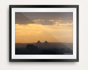 Pyramids in the Sunset Print