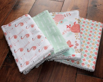 Stella Bundle, baby girl burp cloths, Burp Cloth Set, floral baby, floral burp cloths, flamingo nursery, baby girl, baby gift, flamingo baby