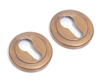 Set 2 Brass Old Retro Escutcheon Key Hole / Concealed Fix Euro Escutcheon Round Keyhole Lock plate cover