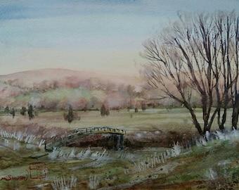 Winter morning in English countryside. Original watercolour. Landscape. Winter scene.