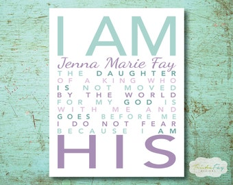 I Am His Daughter of a King, Christian Wall Art, Nursery Wall Art, Children's Room Decor, Baby Shower Gift, Personalized Room Decor, Baptism