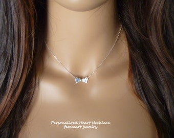 Two Heart Necklace, Personalized Necklace, Handmade by Femmart, Custom Initial, Fine Silver Heart, Sterling silver chain