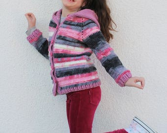 Kids Cardigan, Girls Cardigan, Warm and Cute Cardigan for Girls, Crochet Cardigan for Girls, Knitted Cardigan for Girls, Cardigan with Hood