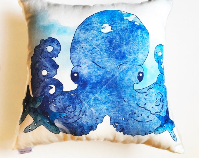 Watercolor Octopus Blue Square Throw Pillow