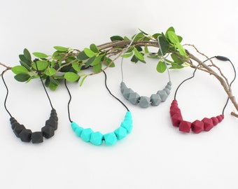Teething necklace beaded silicone chew monochrome Hexagon pattern