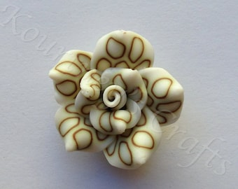 Handmade Polymer Clay Flower set of 10, size 25mm, thickness 12mm, hole 1mm
