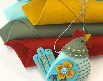 Wool Felt Kit, French Hen, Holiday Ornaments, MmmCrafts, 12 Days Ornaments, DMC Floss, Sulky, Stick 'n Stitch