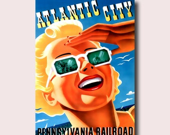 Atlantic City Travel Poster 1940 - Vintage Travel Print Pennsylvania Poster Travel Atlantic City Poster Home Decorating   Reproduction