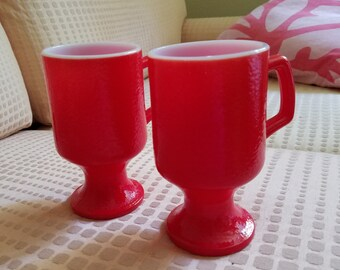 Anchor Hocking Fire King red pedestal mugs set of two milk glass coffee tea mugs
