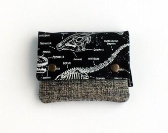 Monedero de tela, monedero dinosaurios, monedero negro