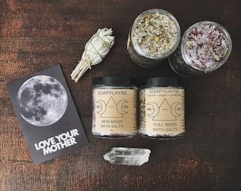 BATH SALT, moon phase herbal bath soak, vegan bath salts- Moon Rhythm Bathing