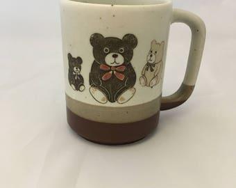 Vintage Stoneware Mug with Teddy Bears - Otagiri Teddy Bear Mug from the 1980s - Retro Mug - Vintage Stoneware