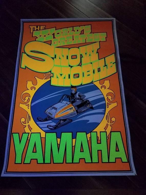 Vintage Yamaha Snowmobile 340 Exciter Poster, 70s Black Light Fluorescent Dealership Advertising