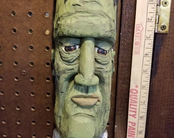 "Cottonwood Bark ""Frankenstein""  Hand carved, painted and signed wall hanging Approx. 12 X 4 ins."