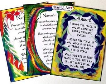 NAMASTE 5x7 YOGA Poster Inspirational Meditation Quote Relationship Motivational Decor Love Saying Gift Heartful Art by Raphaella Vaisseau