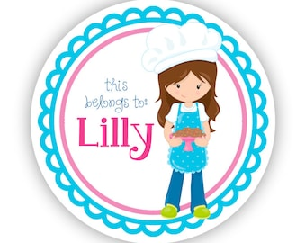 Name Label Stickers - Blue Pink Baker Girl, Cookie Baking Personalized Name Tag Sticker Labels, This Belongs To - Back to School Name Labels