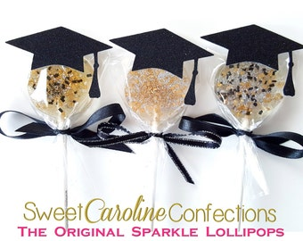 Graduation Lollipops, Graduation Gift, Graduation Favors, Hard Candy Lollipops, Gold Candy, Gold Favors, Gift-6/Set