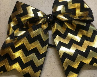 Black & Gold Chevron Bow