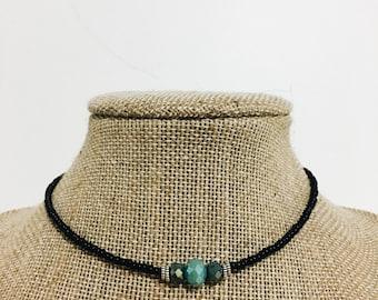Boho Black Choker, blue choker, seed bead choker, stylish choker, necklace, boho