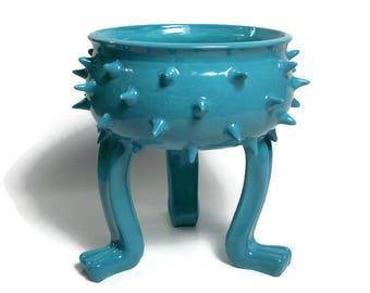 Ceramic Succulent Planter - Turquoise Ceramic Planter Pot - Grouchy Pot with Spikes - Planter Pot with Feet