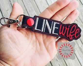 Line Wife Keychain, Line Wife Key Chain, Line Wife Keyfob, Line Wife Snap Tab, Line Wife Purse Charm, Line Wife, Lineman, Linemen, Wife