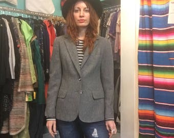 Vintage 70s Evan Picone wool blend blazer suit jacket coat // women's size 14 // made in USA