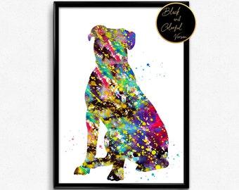American bulldog, Dog, Animal, dog breed, Watercolor, Poster, Room Decor, gift, print, wall art (952)