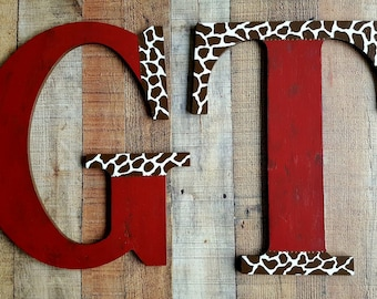Two Large Letters - Large Wall Letters - 18 Inch - Rustic Vintage Style - Giant Wall Letter - Farmhouse Style