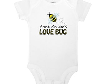 Personalize The Name - Aunt's Love Bug - Bumble Bee Baby One Piece Bodysuit or Toddler / Children's T-shirt