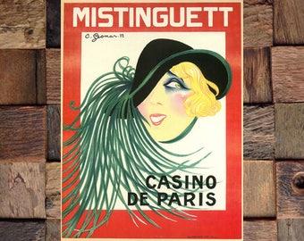 Gesmar Mistinguett Casino De Paris Vintage Art, Mistinguett Art, Vintage Gesmar Art, Vintage Art, Giclee Art Print, fine Art Reproduction