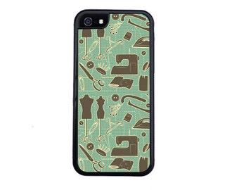 Vintage Sewing Pattern Case Design For iPhone 5/5s, 5c, 6/6s, 6/6s Plus, 7, 7 Plus, 8 or 8 Plus.