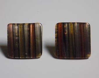 Vintage Square Metallic Striped Post Earrings