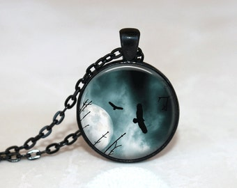 Glass Tile Necklace Eagle Necklace Moon Necklace Moon Jewelry Glass Tile Jewelry Eagle Jewelry Bird Jewelry Black Necklace Black Jewelry