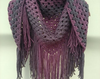 Hand Crocheted Granny Scarf/Shawl and Hat Set