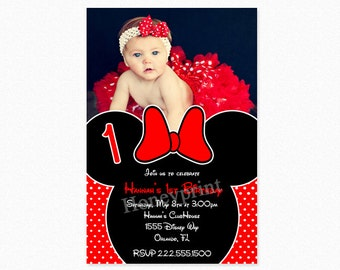 Minnie Mouse Birthday Party Invitation, Red, Minnie Mouse Invitation, 1st Birthday, Printable, Photo Invitation