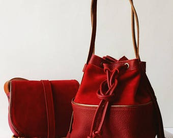Leather handbag, leather bucket bag, leather backpack, genuine red leather, soft red suede leather, cotton lining, pocket, leather string