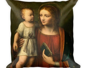 Religious home decor - Madonna and Child Square Pillow - Sofa Pillow - Virgin Mary decor - catholic throw pillow
