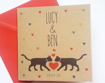 Personalised Cat Wedding Card - Names and Date