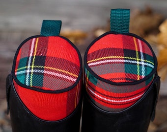 Custom Red, Black, and Hunter Green Plaid English Boot Trees/Stuffers - Tartan // Blackwatch // Stewart - Made to Order