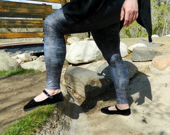 Plus Size Gray Leggings, Grunge Leggings, Black and Gray Ombre Leggings, Stretchy Yoga Pants