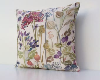 Voyage Hedgerow Linen, Voyage Cushion Cover, Floral cushion cover, linen cotton mix, seed heads, flowers and berries, watercolour print