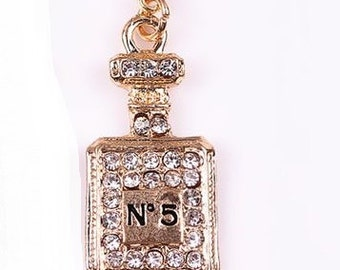 Gold Perfume Bottle Dangling Charm with Rhinestones Floating Locket Living Memory Lockets Jewelry Making Supplies - 64f