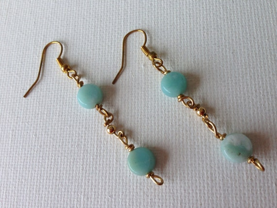 Dangling Jade & Gold Earrings