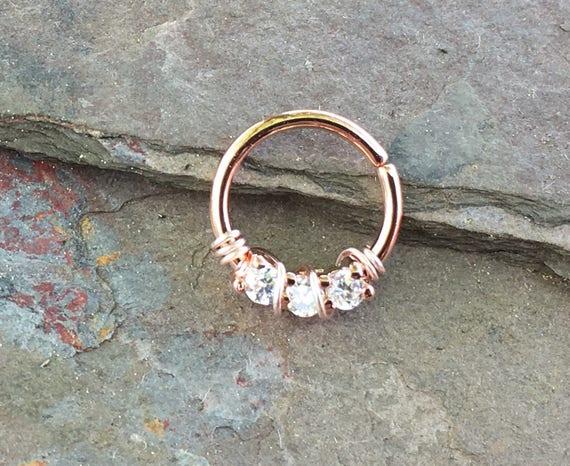 Rose Gold Septum Ring Rose Gold Daith Piercing Rook Earring