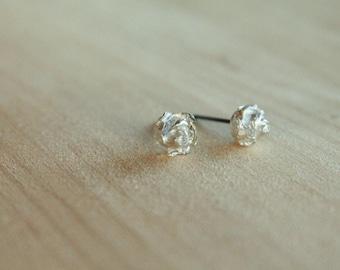 Roses - Silver & Black Niobium Post Earrings for Sensitive Ears / Metal Allergies - Nickel Free