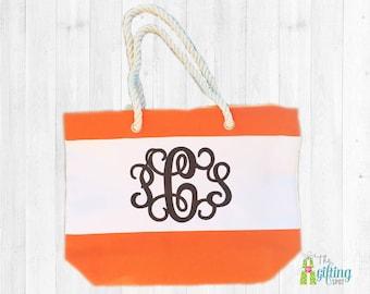 Monogrammed Beach Bag, Personalized Beach Tote, Striped Bag, Monogrammed Pool Tote, Summer Tote, Rope Handle Tote, Monogram Pool Bag